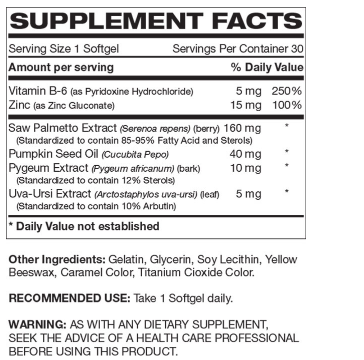 Saw Palmetto Complex supplement facts