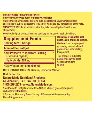 Super Saw Palmetto supplement facts