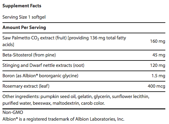 Palmetto Guard with Nettle Root supplement facts