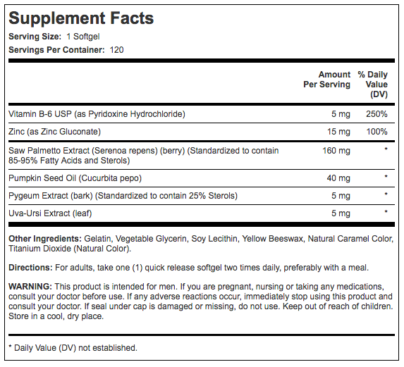 Prosta Palmetto supplement facts