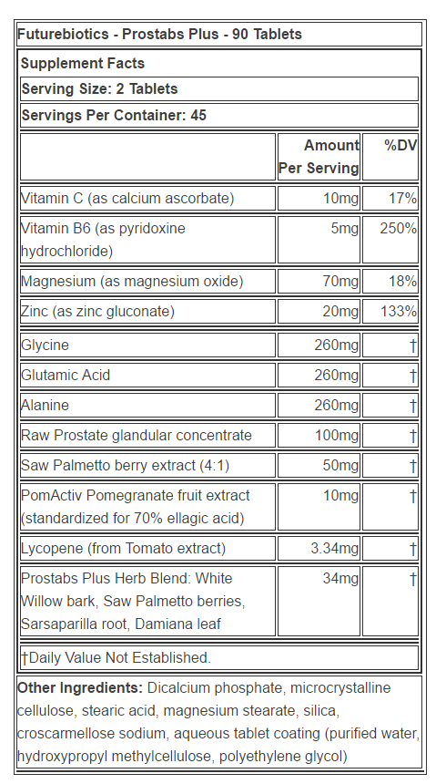 Prostabs Plus supplement facts