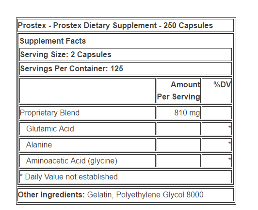 Prostex supplement facts