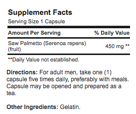 Flow Guard Saw Palmetto supplement facts