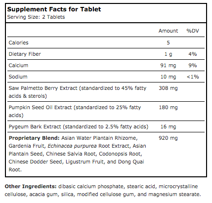 Saw Palmetto Classic supplement facts