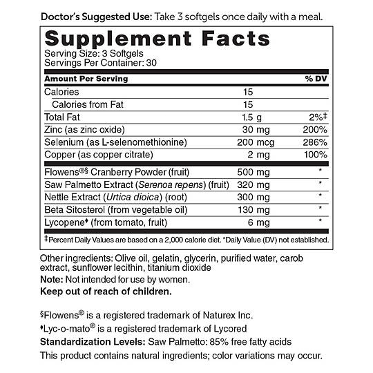 Saw Palmetto Prostate Health supplement facts