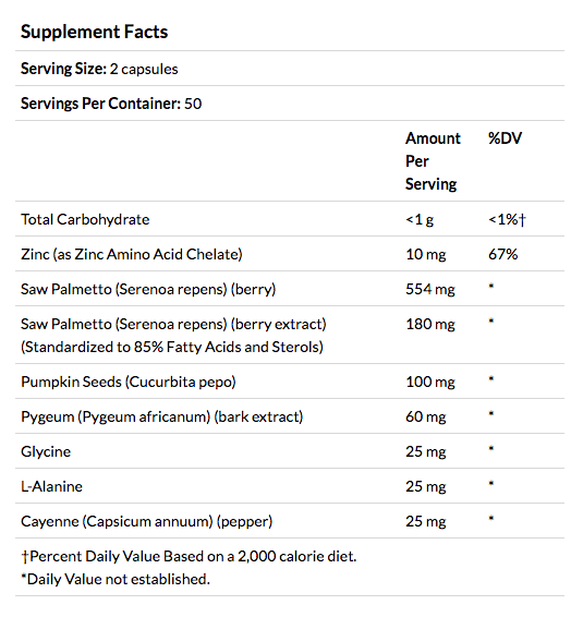 Super Saw Palmetto Plus Pygeum supplement facts