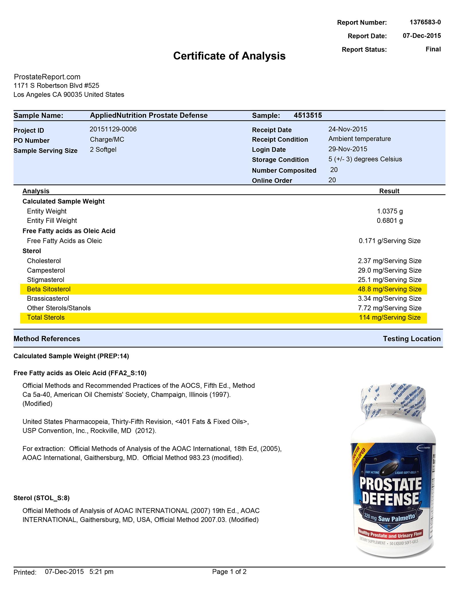 Prostate Defense lab report