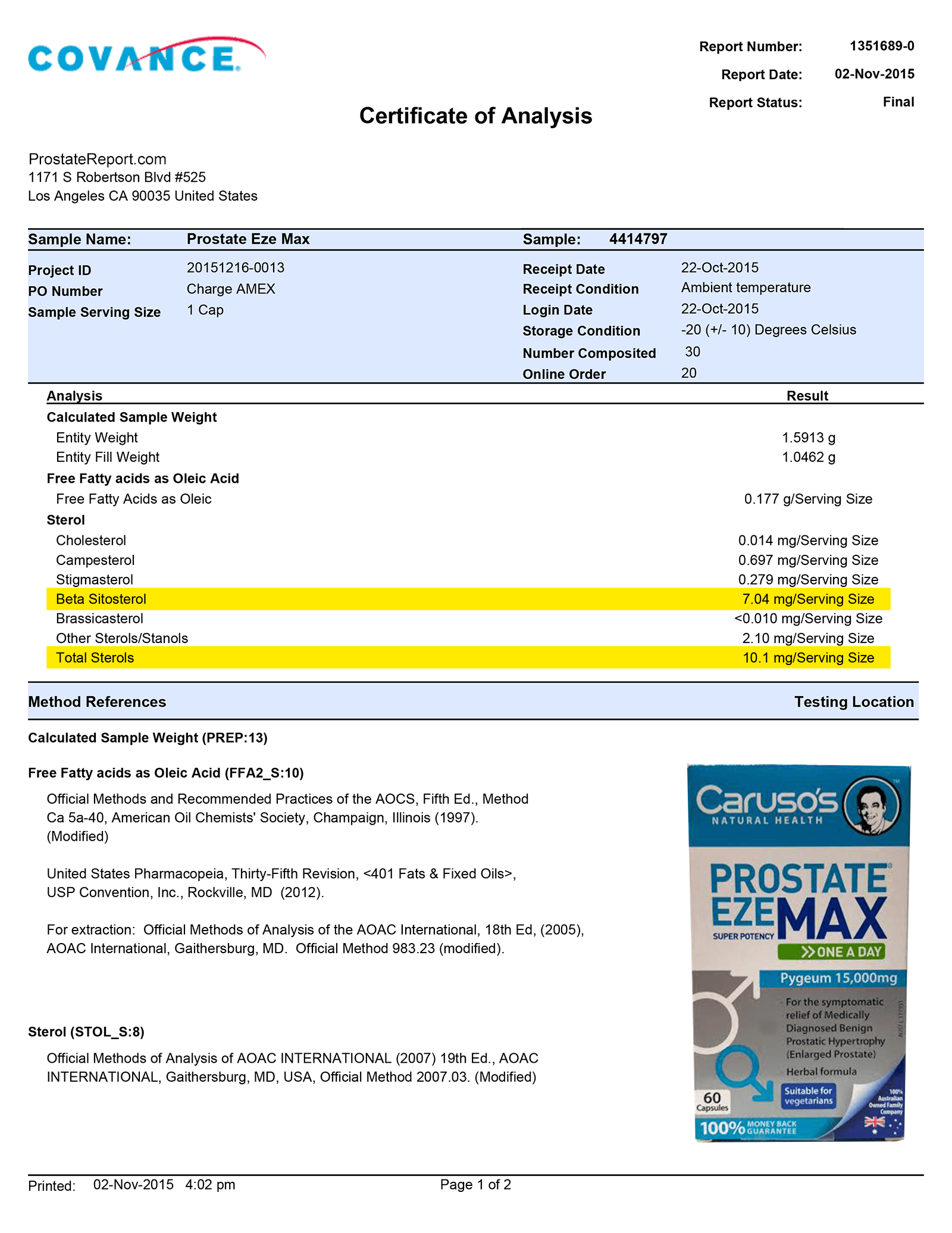 Prostate Eze Max lab report
