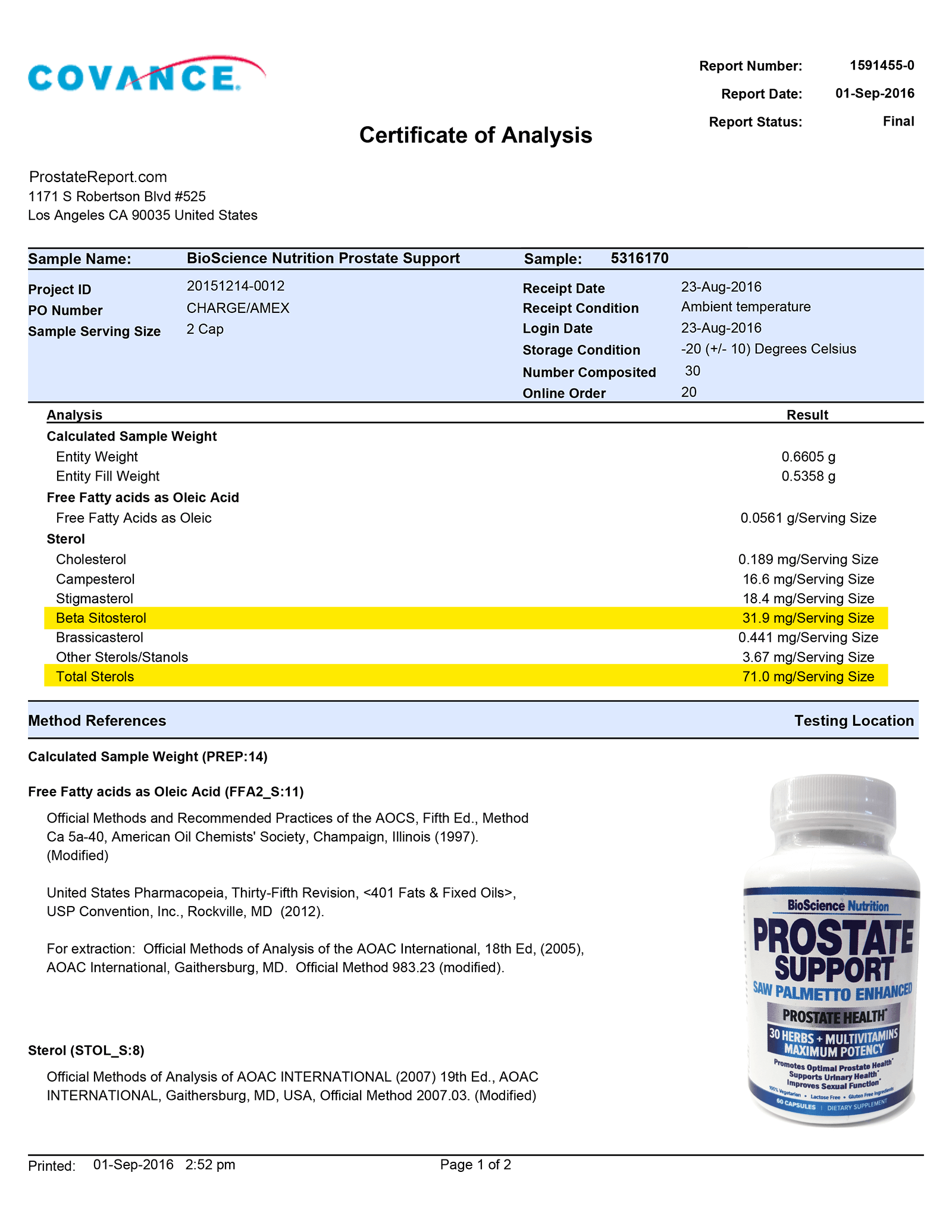 Prostate Support lab report