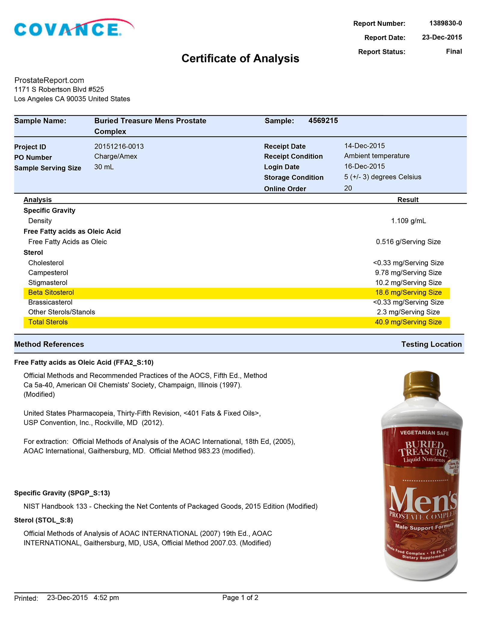Men's Prostate Complex lab report