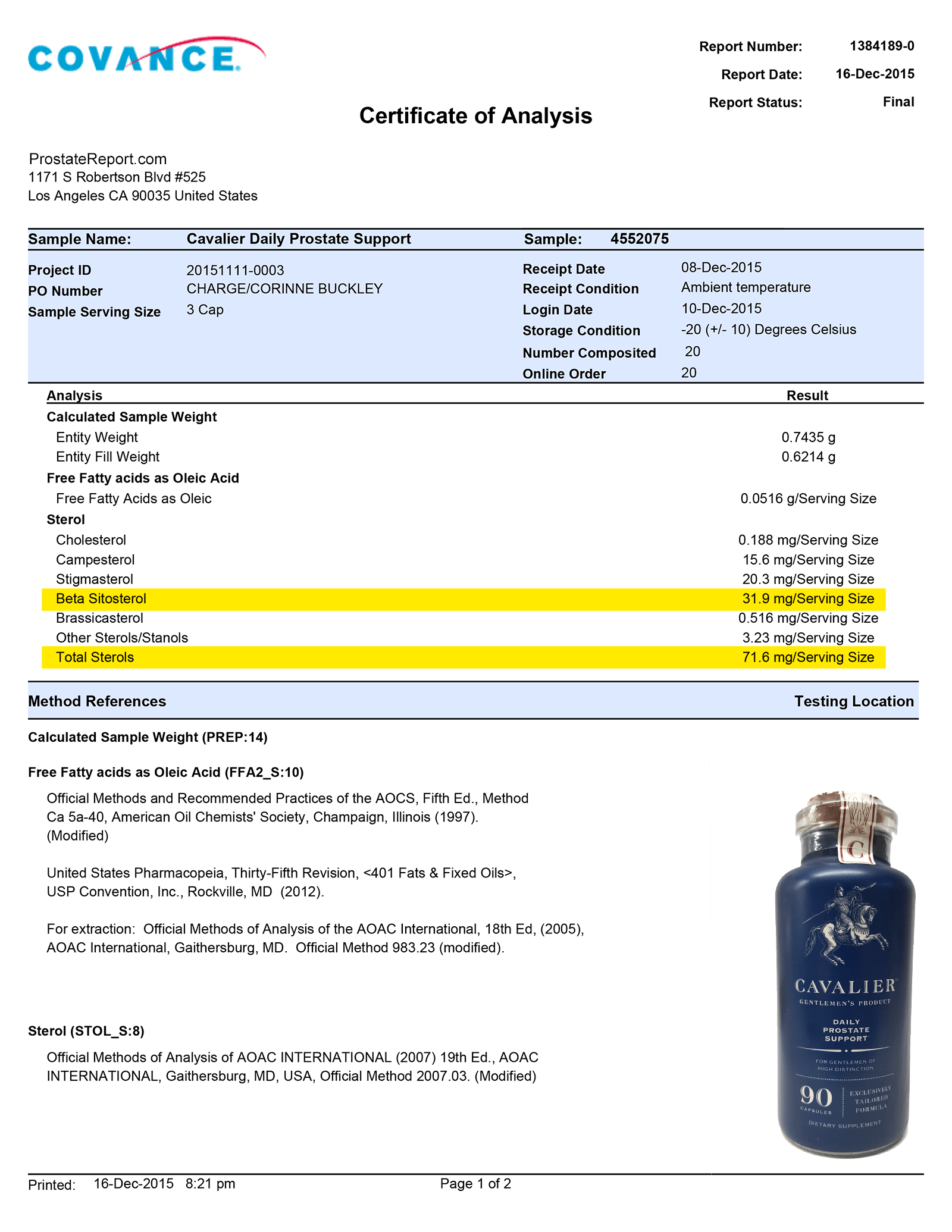 Cavalier Daily Prostate Support lab report