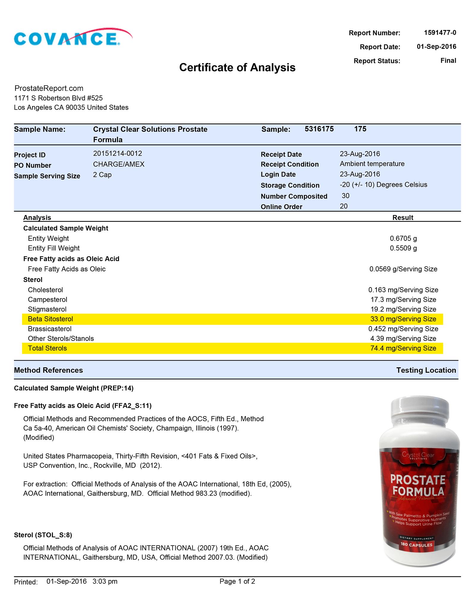 Prostate Formula lab report