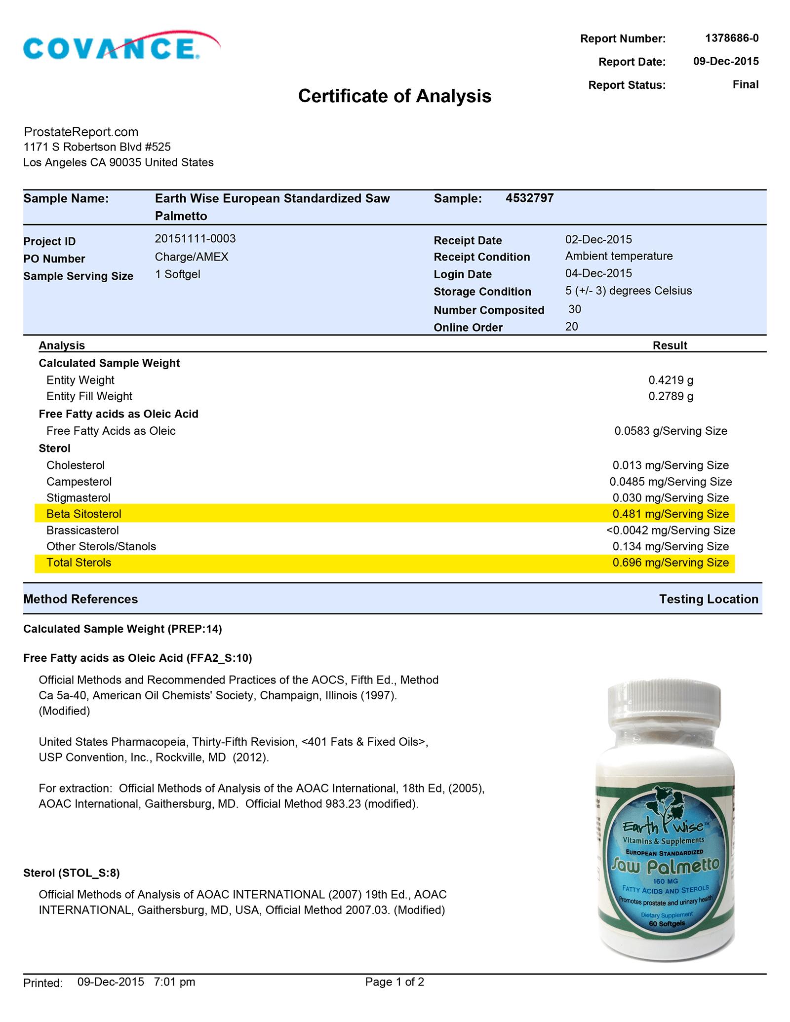 Saw Palmetto lab report