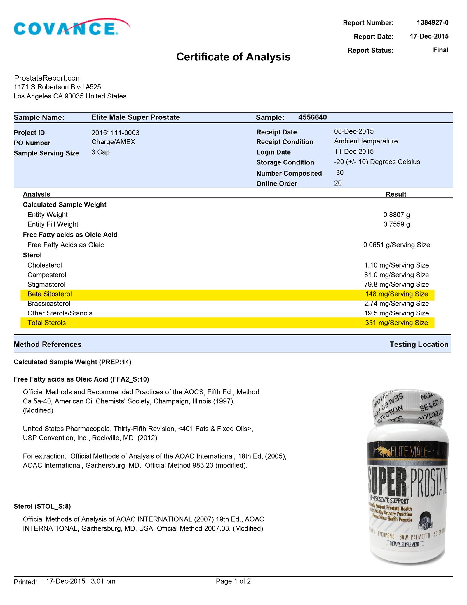 Super Prostate lab report