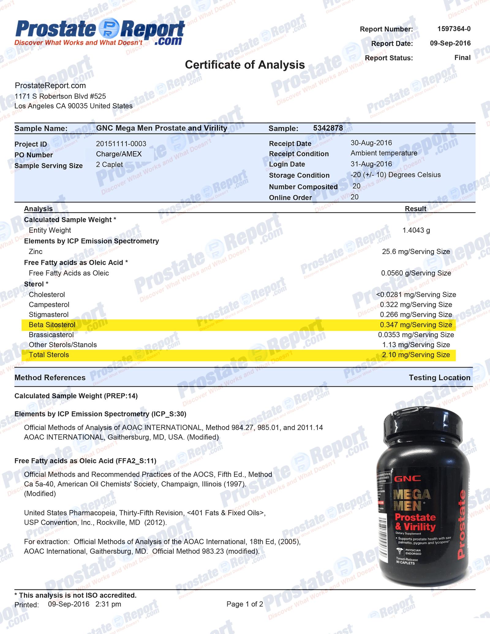 GNC Mega Men Prostate & Virility lab report