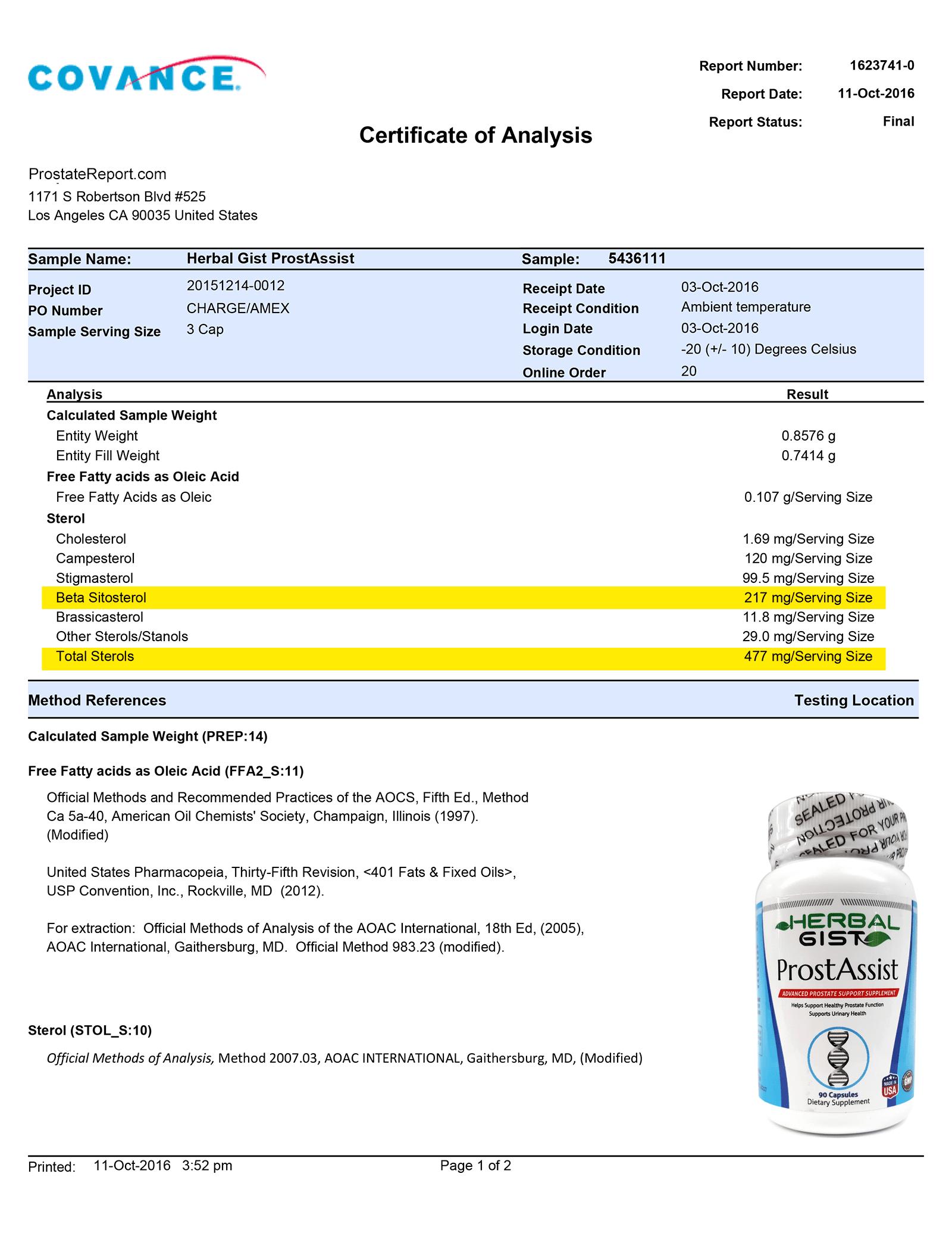 Prostassist lab report