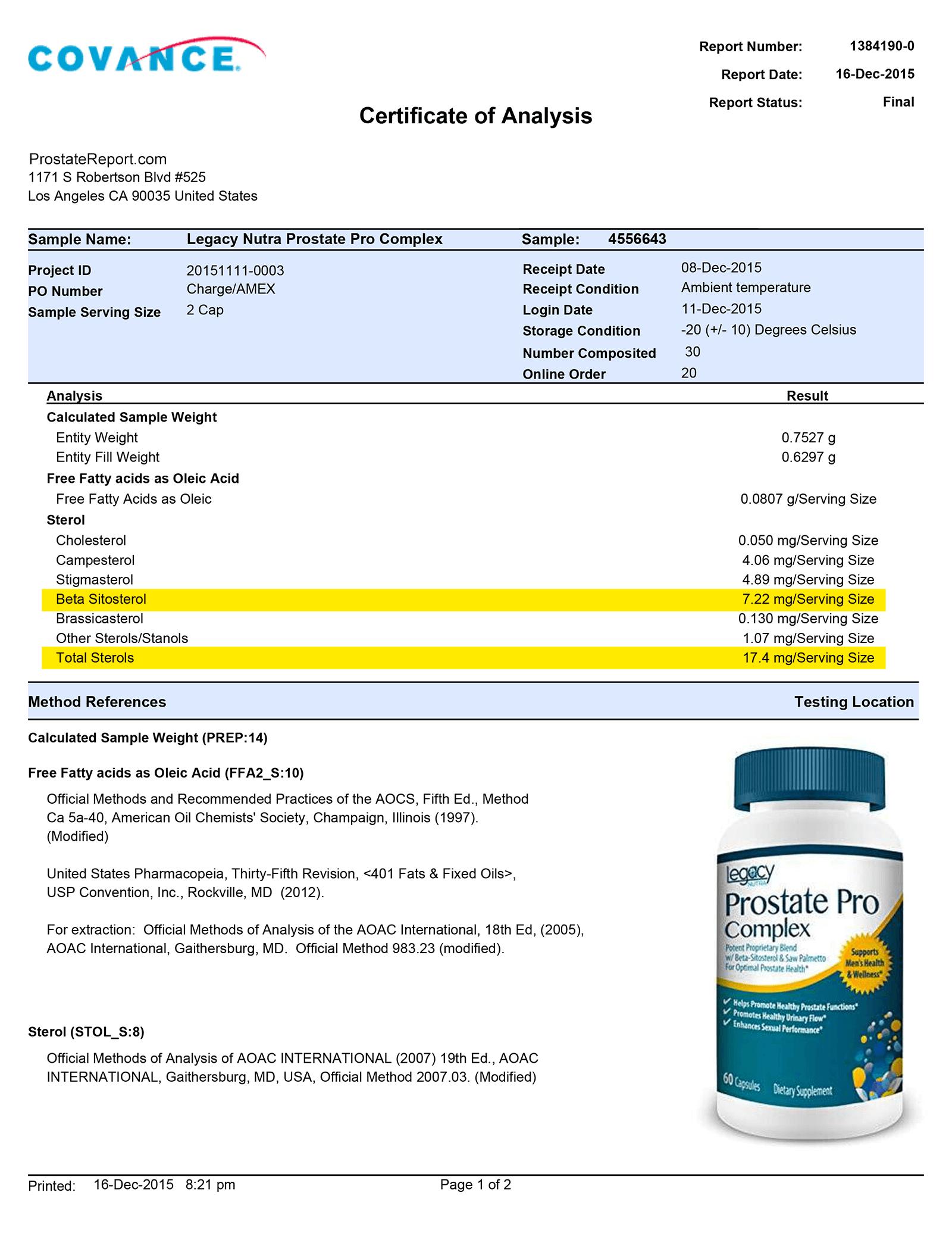 Prostate Pro Complex lab report