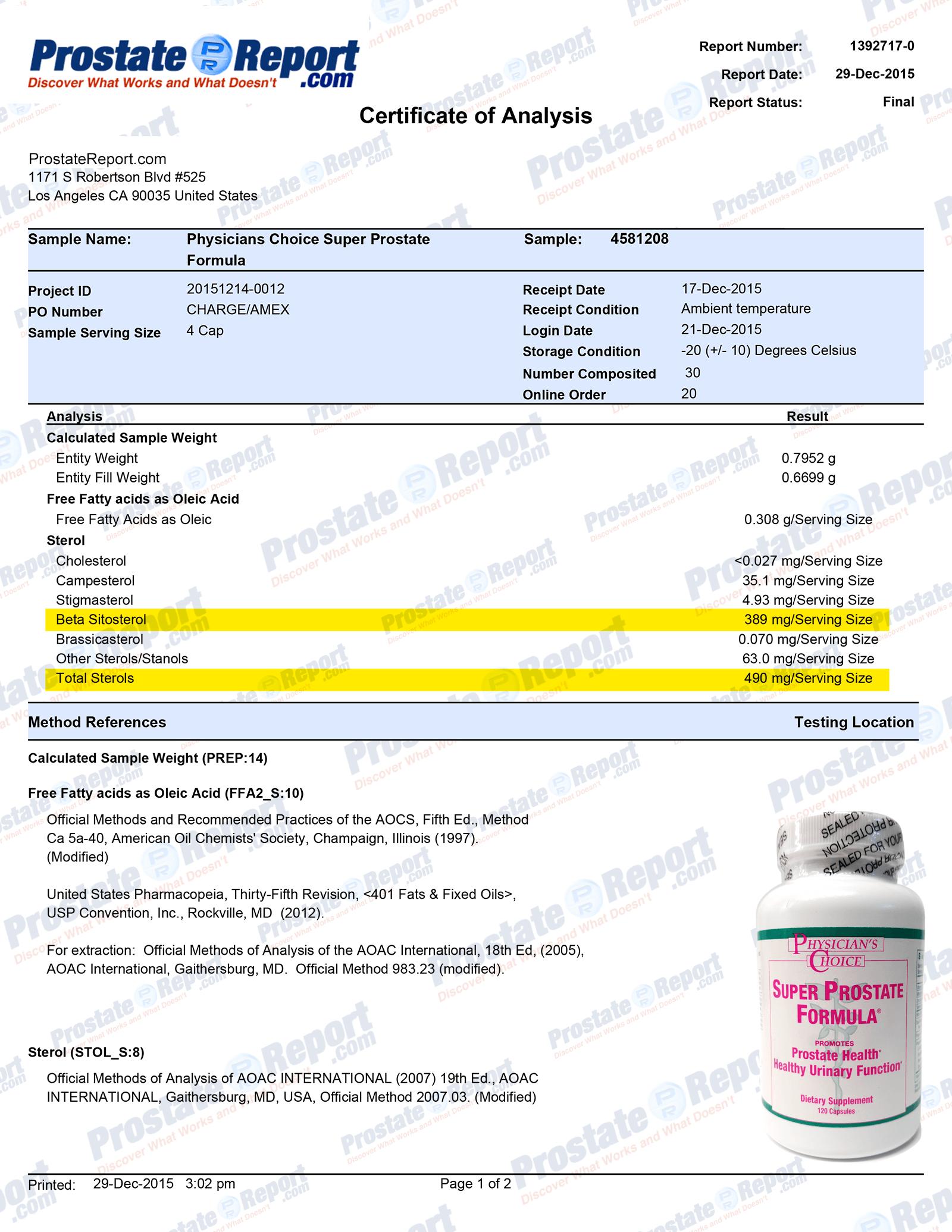 Super Prostate Formula lab report