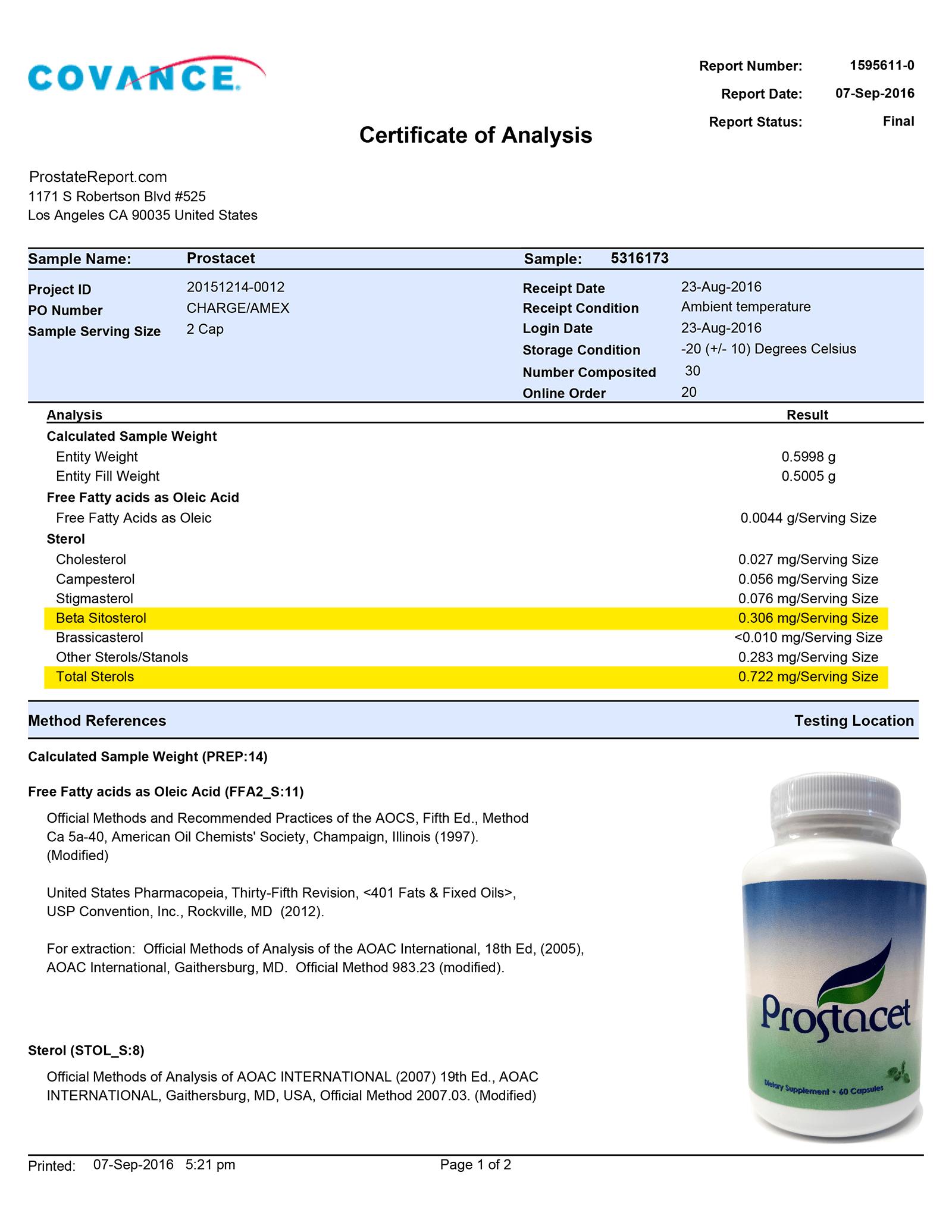 Prostacet lab report