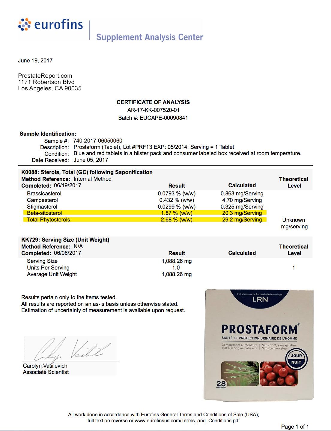 Prostaform lab report