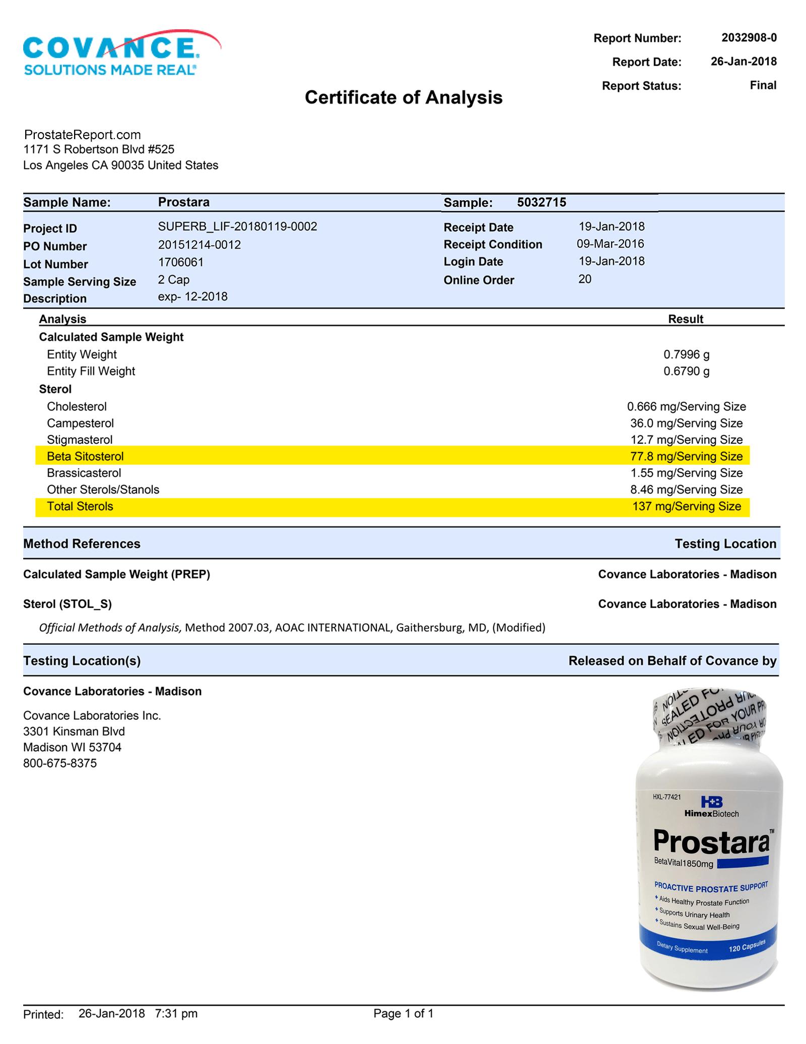 Prostara lab report