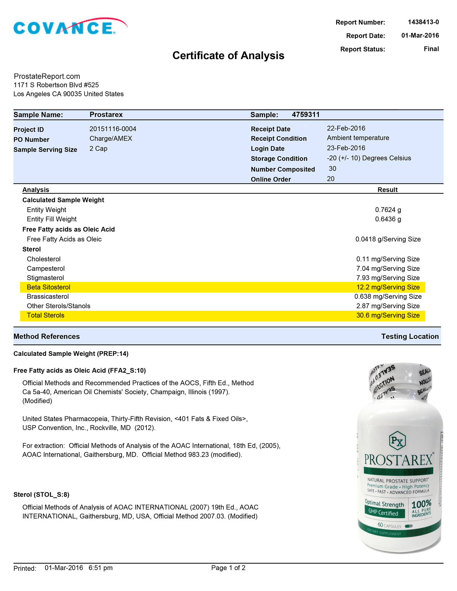 Prostarex lab report