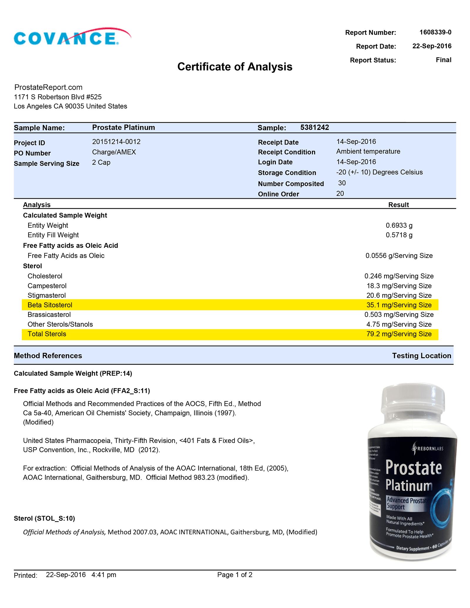 Prostate Platinum lab report