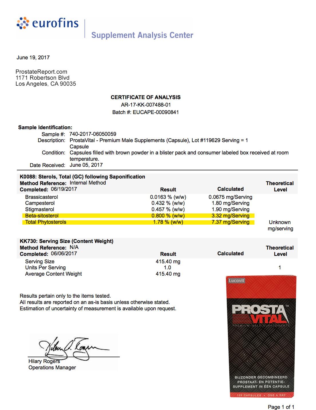 ProstaVital lab report