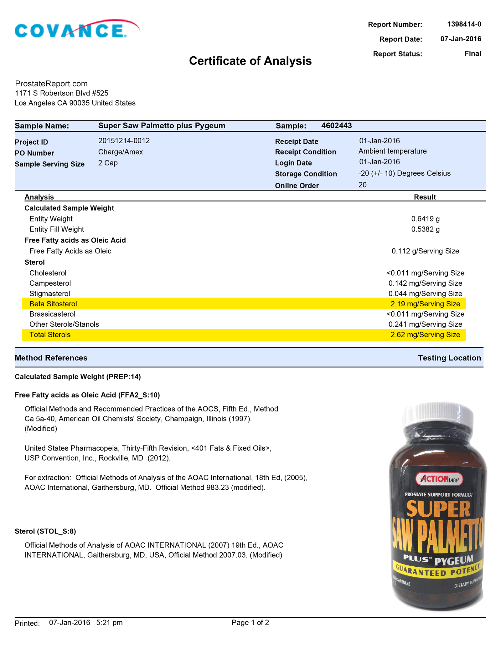 Super Saw Palmetto Plus Pygeum lab report